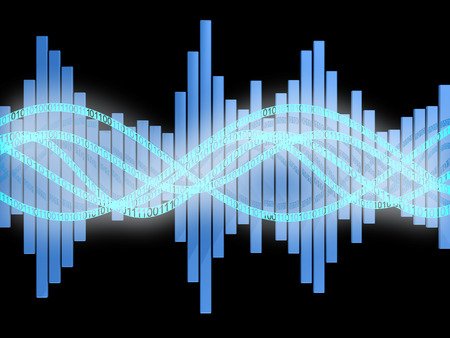 audiowave: abstract 3d illustration of digital sound wave and spectrum