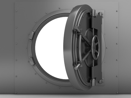 vaulted door: 3d illustration of bank vaulted door, steel material Stock Photo