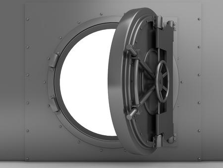 vaulted door: 3d illustration of bank vaulted door, steel material Stock Photo