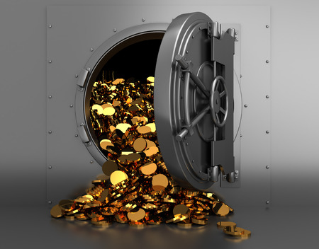 coins: 3d illustration of opened bank treasury full of golden coins