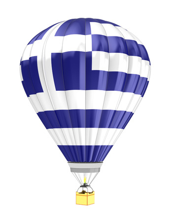 greece flag: 3d illustration of hot air balloon with Greece flag colors