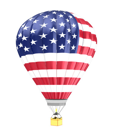 flying flag: 3d illustration of hot air balloon with USA flag colors