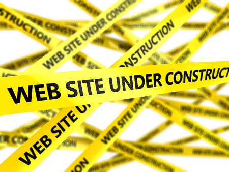 cordon: 3d illustration of yellow tape with text web site under construction