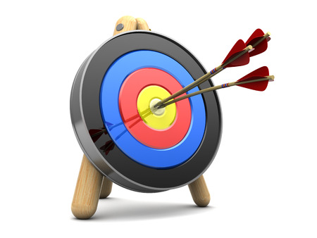 penetrating: 3d illustration of archery target with three arrows in center