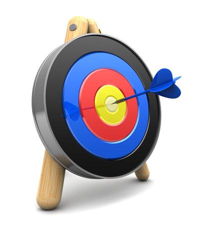 3d illustration of tarhet with dart, over white background