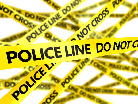 police tape: 3d illustration of yellow tape with police line yellow tape Stock Photo