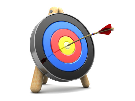 penetrating: 3d illustration of archery target with arrow in center