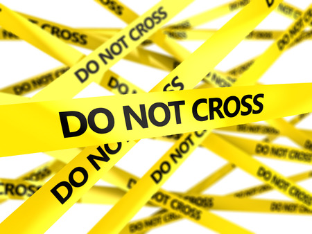 do not cross: 3d illustration of yellow tape with do not cross sign, blured background Stock Photo