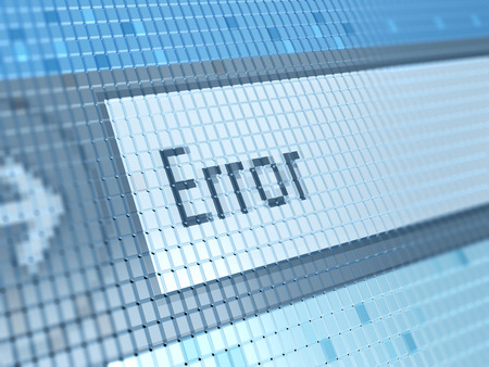 error message: abstract 3d illustration of error message on monitor closeup Stock Photo