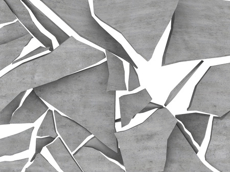 demolish: 3d illustration of breaking concrete over white background