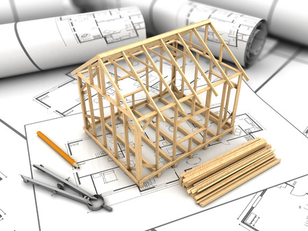 3d illustration of house frame modeling and blueprints Stockfoto