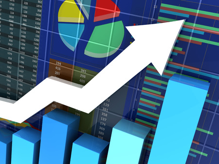 acute angle: abstract 3d illustration of an business graph closeup