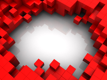 connection block: 3d illustration of red cubes background