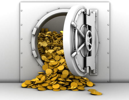 3d illustration of opened bank treasury full of golden coins illustration