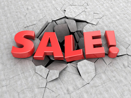 pit fall: abstract 3d illustration of heavy weight sale sign