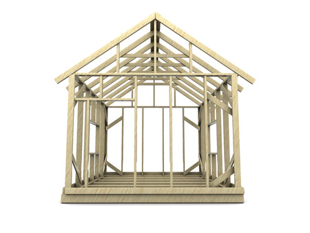 modular home: 3d illustration of house frame over white background
