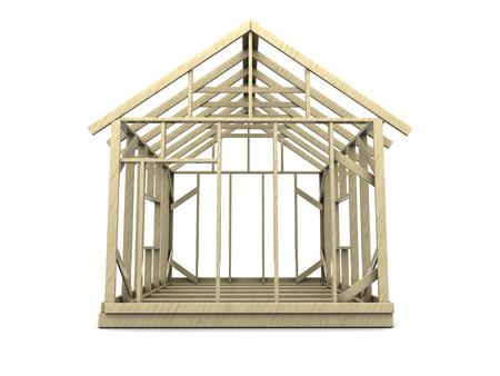 modular home: 3d illustration of house frame over white background