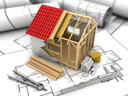 3d illustration of frame house model over blueprints background