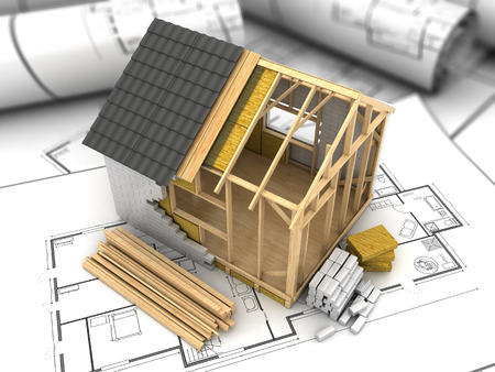 construction project: 3d illustration of modern frame house project model