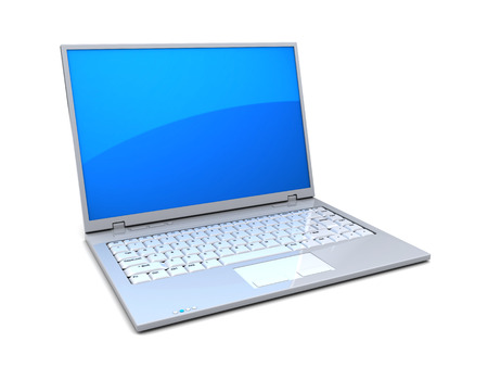 laptop screen: 3d illustration of white laptop computer with blue screen Stock Photo