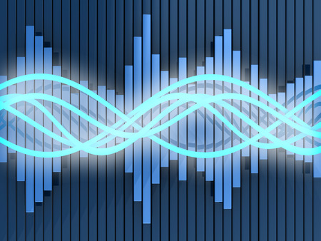 audiowave: abstract 3d illustration of sound waves and spectrum