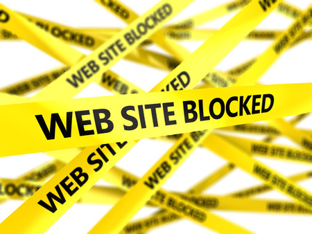 cordon: 3d illustration of yellow tape with text web site blocked Stock Photo