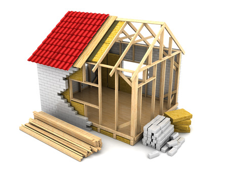 3d illustration of modern frame house construction Archivio Fotografico