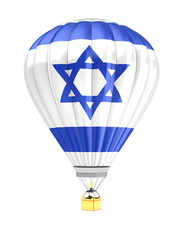 israel flag: 3d illustration of hot air balloon with Israel flag colors
