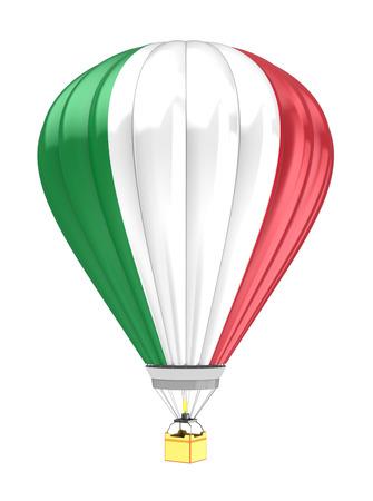italien flagge: 3D-Darstellung der Heißluftballon mit Italien-Flagge Farben