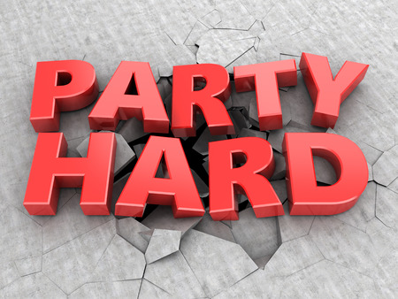 loudness: abstract 3d illustration of party hard sign