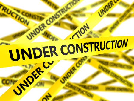 under surveillance: 3d illustration of yellow tape with under construction sign Stock Photo