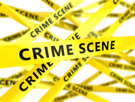 police tape: 3d illustration of yellow tape with crime scene sign