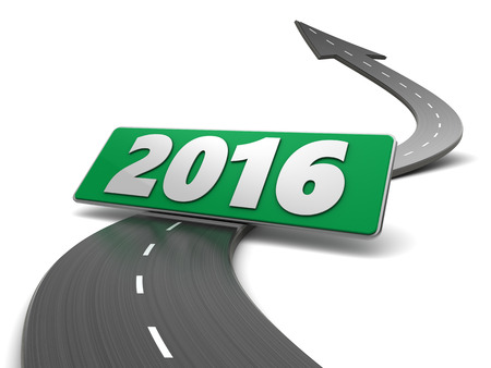 turn of the year: 3d illustration of asphalt road and 2016 sign Stock Photo