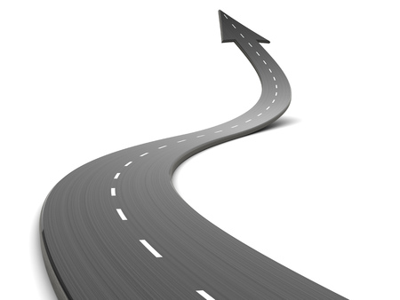 abstract 3d illustration of curved road forward with arrow