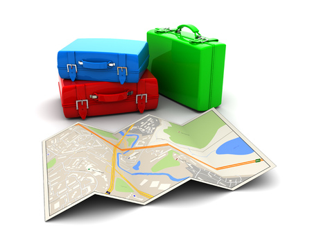 targeted: 3d illustration of map and luggage, tourism concept