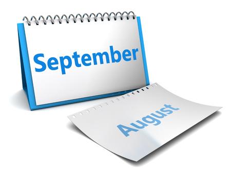 month 3d: 3d illustration of folding calendar with september month page