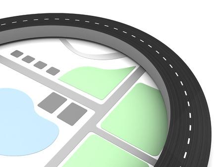 tar paper: 3d illustration of map with asphalt road