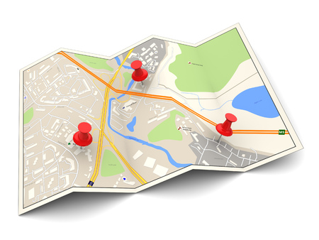 pin: 3d illustration of city map with three red pins