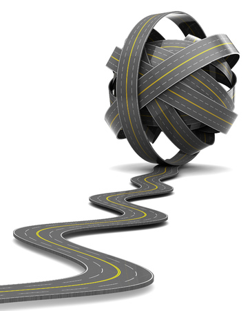 highway: 3d illustration of road knot over white Stock Photo