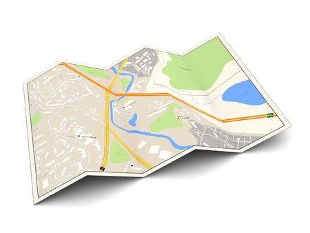 3D-Darstellung der Stadtkarte über weißem Hintergrund Standard-Bild - 45524430