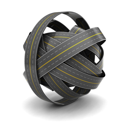 3d illustration of roads knot over white abckground