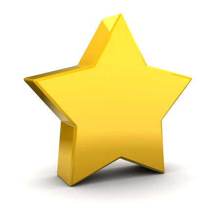 yellow star: 3d illustration of yellow star over white background Stock Photo