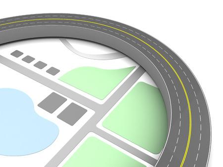 tar paper: 3d illustration of asphalt road around map
