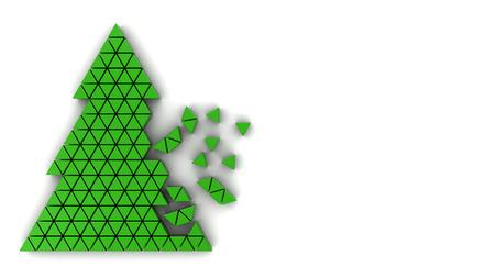 assembling: 3d illustration of Christmas tree assembling over white background