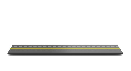 two object: 3d illustration of highway piece over white background