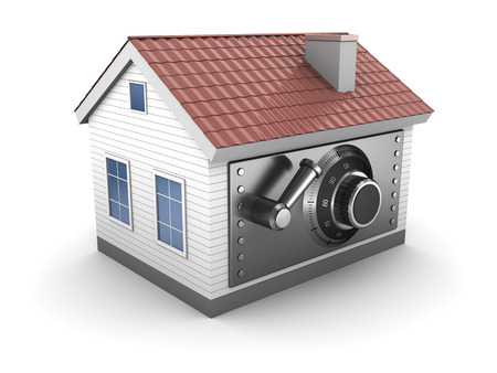 safe house: abstract 3d illustration of house with safe lock door Stock Photo