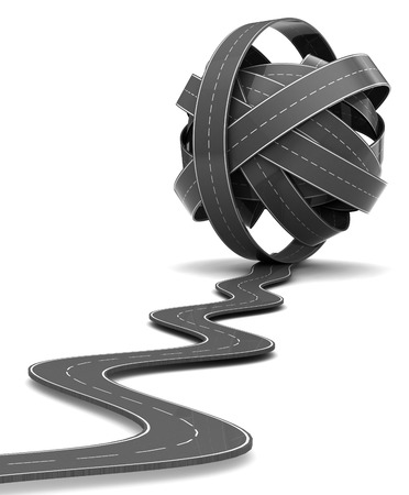 3d illustration of road knot over white background
