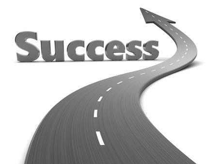3d illustratie van de weg met pijl en succes teken