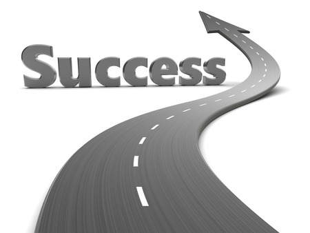 arrow shape: 3d illustration of road with arrow and success sign Stock Photo
