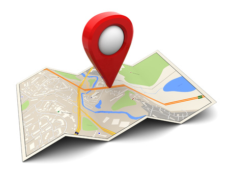 geographical locations: 3d illustration of map with red target pin
